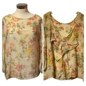 Coveted Large Yellow and Pink Floral Bow Back Top